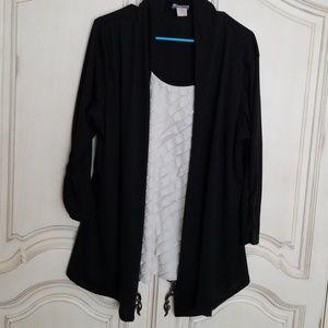 Rachel Rachel blouse 2X black cream easy care